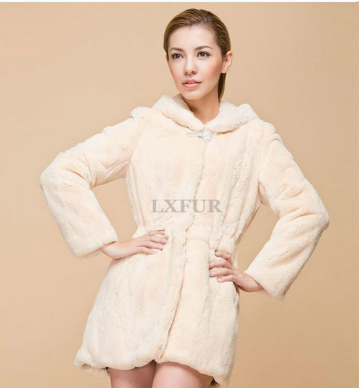 Elegant Womens Winter Real Fur Long Overcoat Genuine Rex Rabbit Hooded Coat Graceful Solid Import Parka LX00277 - LuxuryFur store
