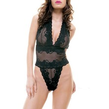 Hot Sexy Costumes Halter Neck Lace Erotic Lingerie Women Teddy BabyDoll Transparent