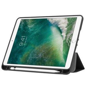 Image 2 - Ultra Slim קל משקל חכם כיסוי מגן Stand מקרה עם אפל עיפרון מחזיק עבור iPad פרו 10.5 2017 A1701 A1709 Tablet