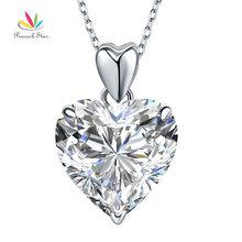 Estrella 5 Ct Corazón Creado Diamante del pavo real Colgante Collar Sólido 925 Plata Esterlina de La Manera Joyería de La Boda CFN8043