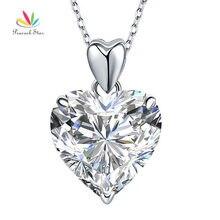 Peacock star 5 ct corazón colgante collar sólido 925 plata esterlina de la manera joyería de la boda cfn8043