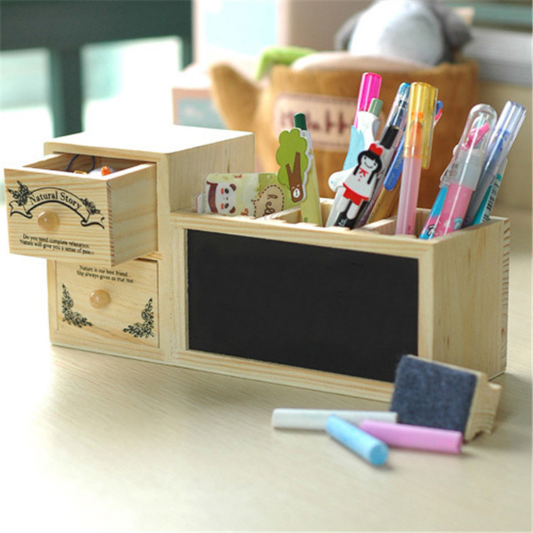 Korean Fashion Wooden Pen Holder Pencil Container with Drawer Blackboard Student Organizer School Office Stationery Supplies korean color multifunction pen holder table stand box for pencil storage student stationery office organizer school supplies