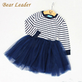 Bear Leader Girls Dress 2017 Spring Girls Dresses Long Sleeve Blanck&White Striped Mesh Design Princess Dress Children Clothing