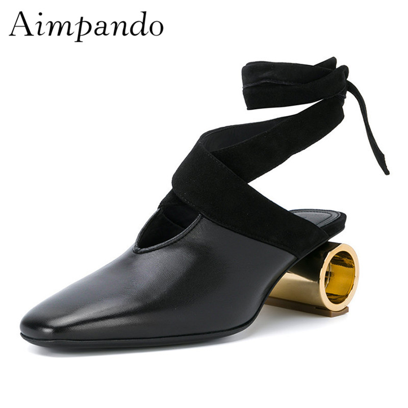 Retro Metal Strange Heel Mules Women Square Toe Ankle Strappy Real Leather Slippers Fashion Shoes Woman