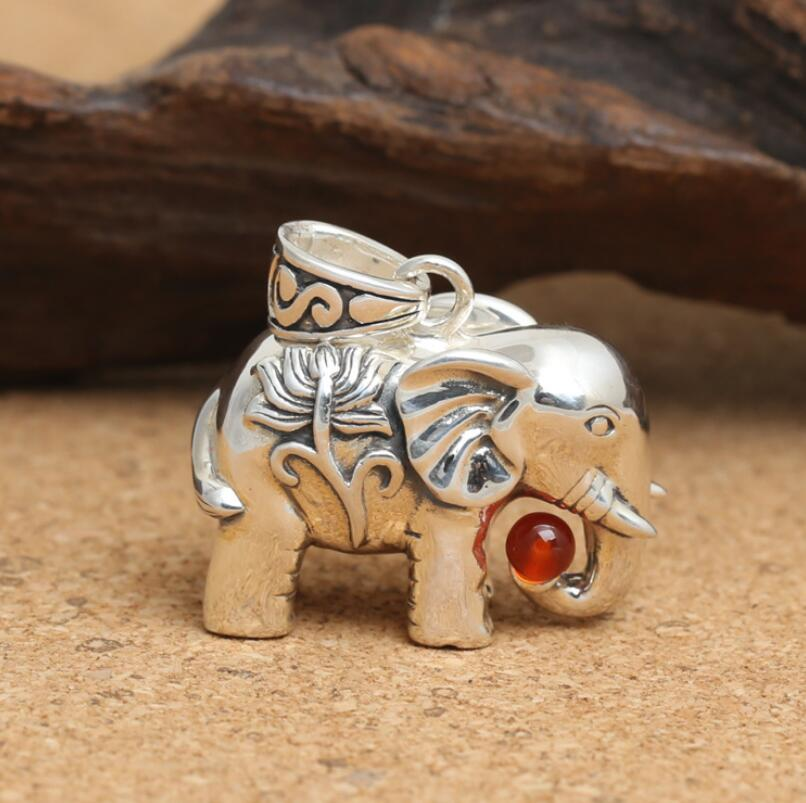 Vintage 925 Sterling Silver Hollow Elephant Pendente Femminile (FGL)Vintage 925 Sterling Silver Hollow Elephant Pendente Femminile (FGL)