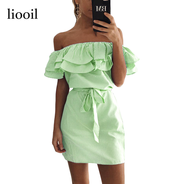 Liooil 2017 Summer Casual Off Shoulder Striped Mini Dress Fashion Sky Blue And White Ruffles Strapless Sexy Women Beach Dress