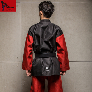 Image 3 - five star doboks adult men and women Taekwondo coach clothing long sleeved clothing Black red design adult taekwondo uniforms