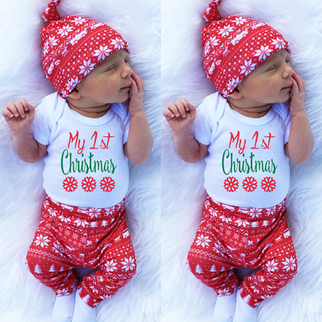ec7118fcdcc0c1 Xma Christmas Newborn Toddler Infant Baby Girl Boy Letter Snowflake Romper Pant  Legging Hat Cap Set Kids Clothes conjunto infant
