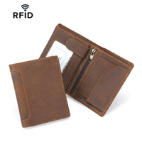 100% Genuine Leather Men RFID Anti Theft Wallets High Quality Male Small Wallet Purse Card Holder Man's Purses with Coin Pocket