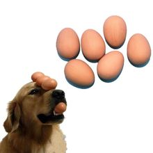 OOTDTY Bulk Set Of 6Pcs Bouncy Eggs Realistic Fake Rubber Bouncing Balls Pet Toy Prank Joke Toy