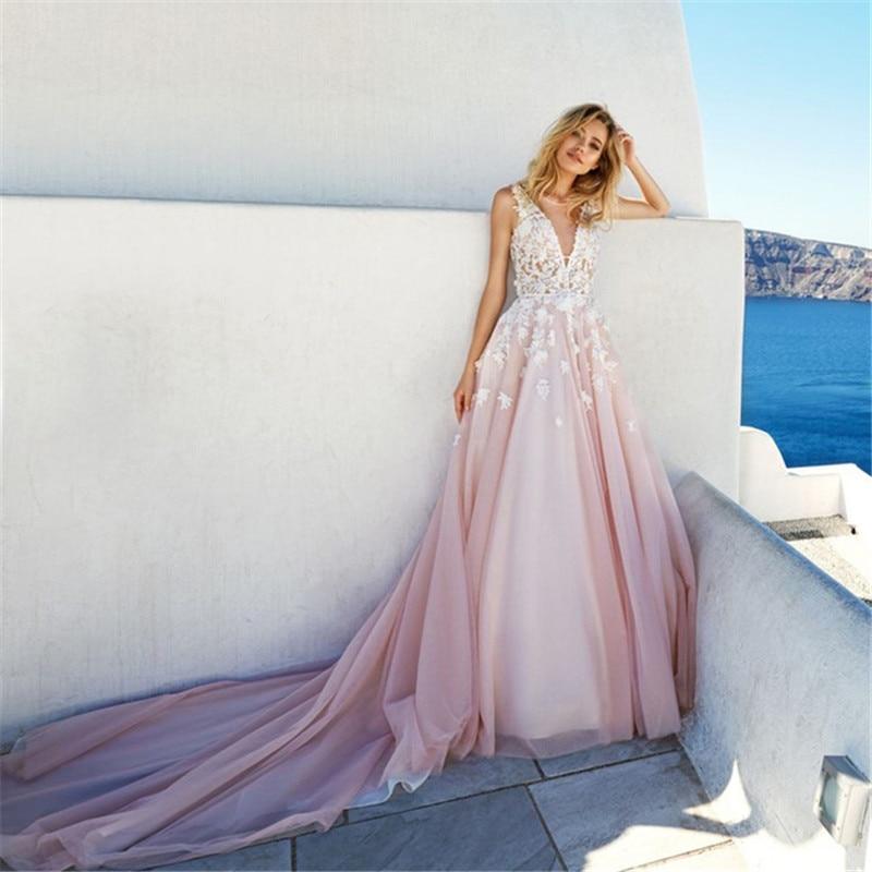 Pink Backless V Neck Wedding Dresses Top Lace Appliques
