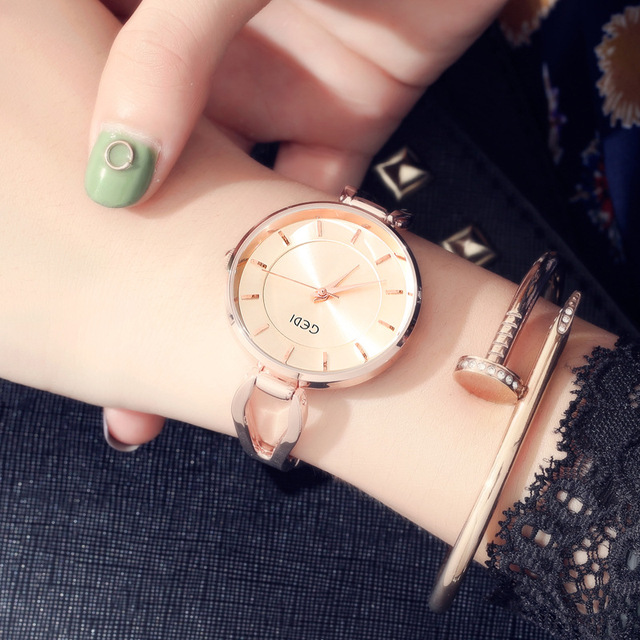 Women Luxury Ultrathin Bracelet Watch Personality Fashion Brand Rose Gold Quartz