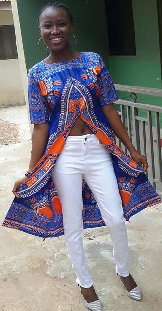 Feiterawn 2017 New Fashion African National Printed Casual Lady Short Sleeve High Split Loose Style Mid-calf T-Shirt OS7098