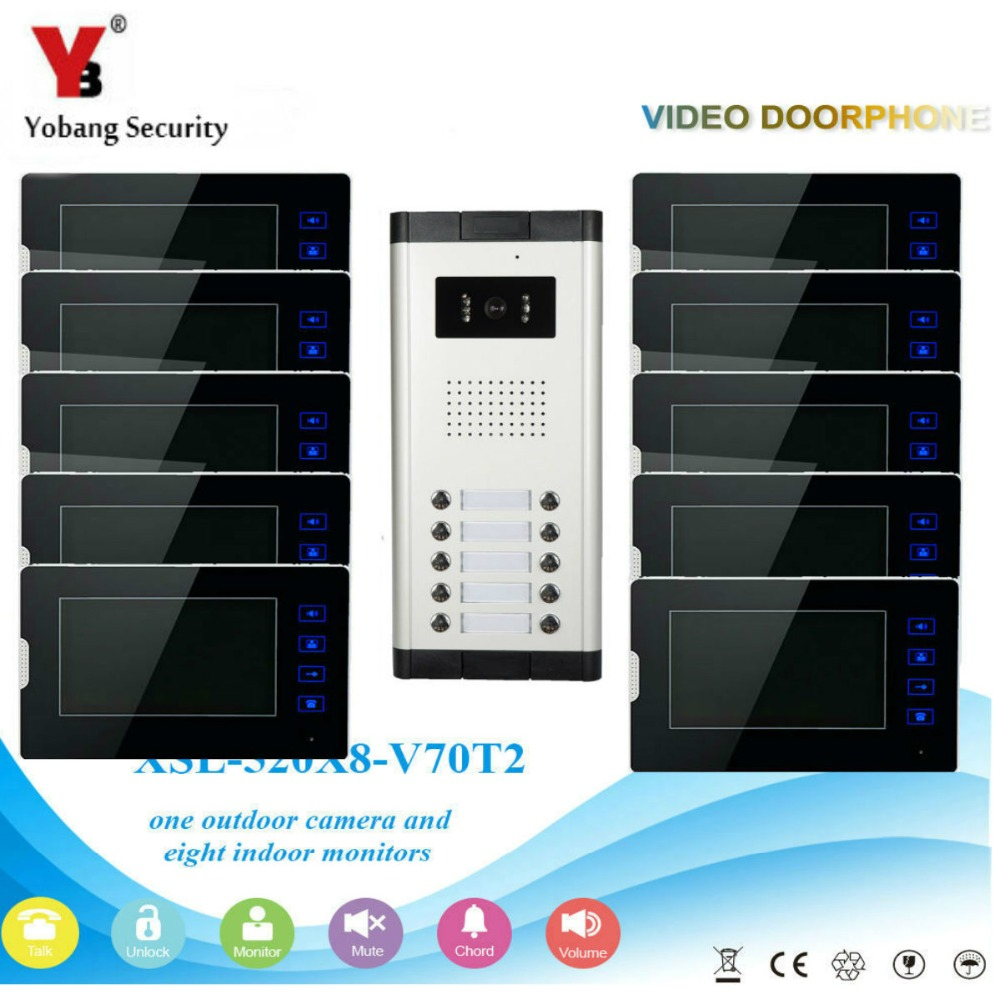 YobangSecurity 1-Camera 10-Monitor 7 Video Door Phone Video Intercom Home Doorbell System Night Vision 2-way Access Control new 7 inch color video door phone bell doorbell intercom camera monitor night vision home security access control