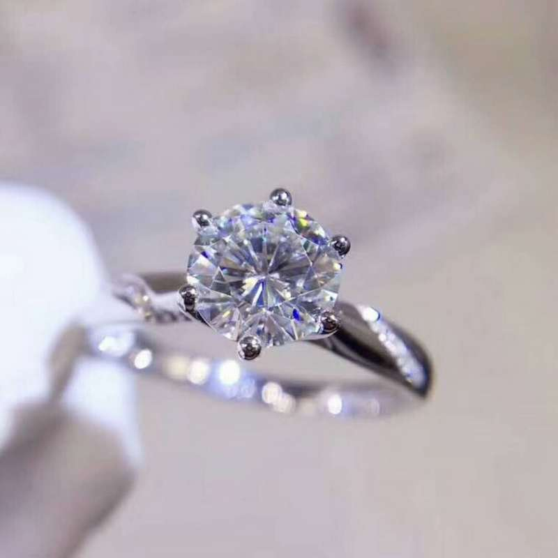 US $134 3 15% OFF|Video Shiny! luxury 2 carat Moissanit Diamond Rings s925  sterling silver fine Jewelry for women weddings white 8mm gemstone-in Rings
