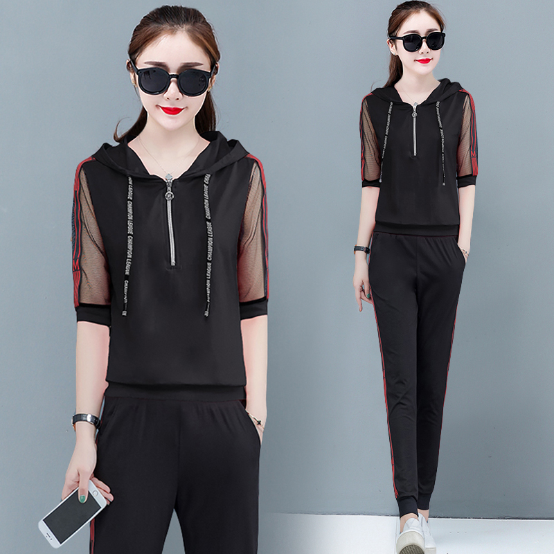 Black Tracksuits for Women Outfits 2 Piece Set Hoodies Top and Pant Suits Plus Size Striped Sportswear 2020 Summer Clothing