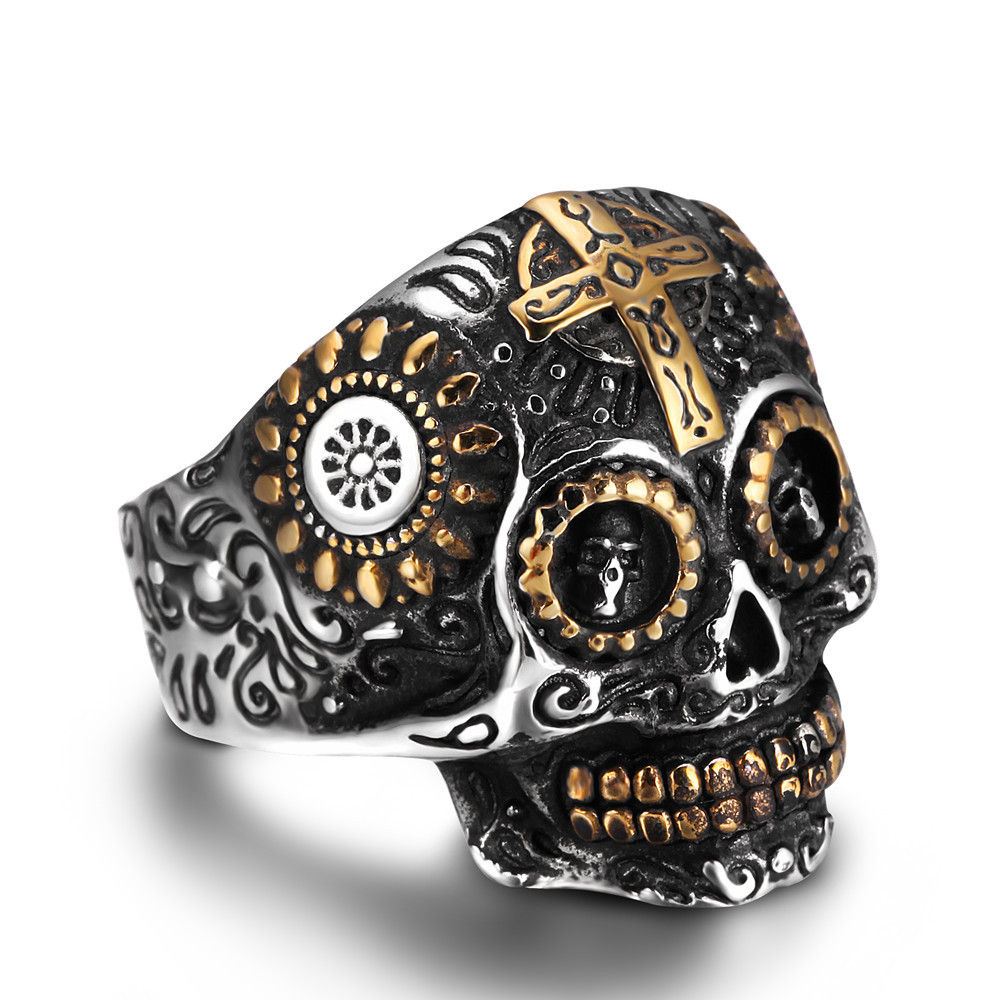 MCSAYS Stainless Steel Skull Ring Bling Iced Out Mens Ring Skeleton Cross Finger Ring Fashion Jewelry Dope Gifts for Men 3JM