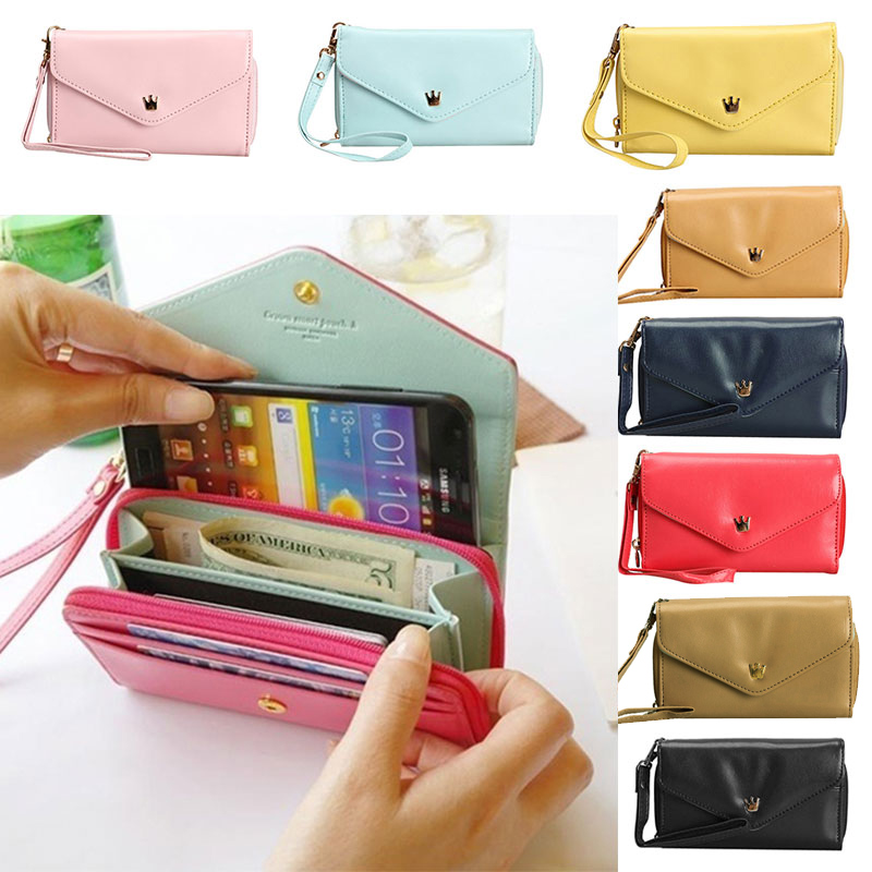 Hot Sale Women Female Fashion Girls Love Crown Smart Pouch Wallet PU Leather Portable Mobile Phone Bag Case Popular LT88