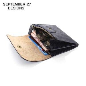 Image 1 - コイン財布女性財布本革ミニ財布小さなコインポーチ掛け金 & ジッパー袋カードホルダーポケット男性牛革財布