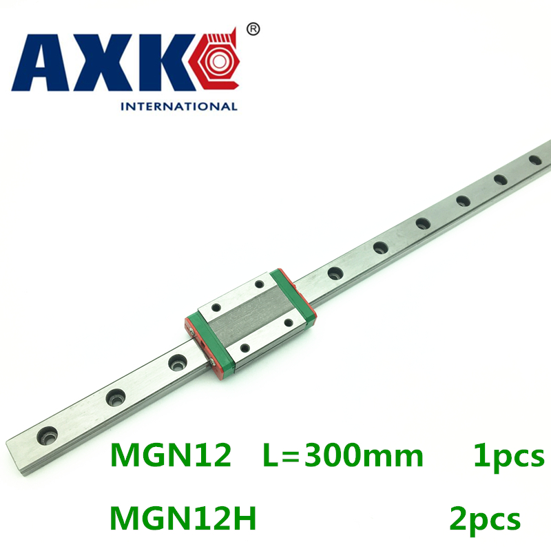 2018 Linear Rail Axk 12mm Linear Guide Mgn12 L 300mm Rail With 2pcs Mgn12h Carriages Block For Cnc Diy And 3d Printer Xyz free shipping to argentina 2 pcs hgr25 3000mm and hgw25c 4pcs hiwin from taiwan linear guide rail