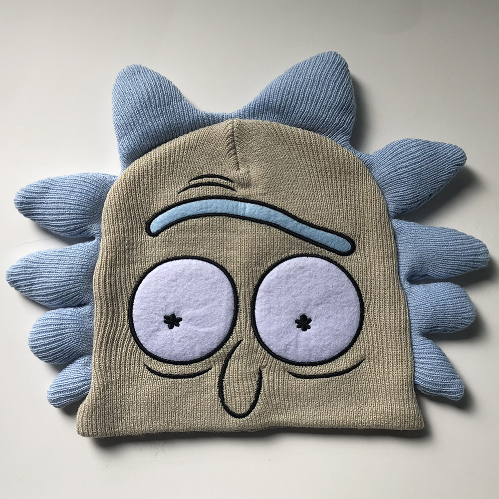 Anime Rick and Morty Hats Cosplay Rick and Morty Costume Accessories Cartoon Warm Beanie Caps Carnival Christmas Party Dropship in Boys Costume Accessories from Novelty Special Use