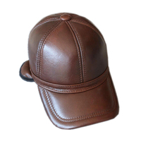 2019 genuine leather men baseball cap hat high quality men's real leather adult solid adjustable hats caps