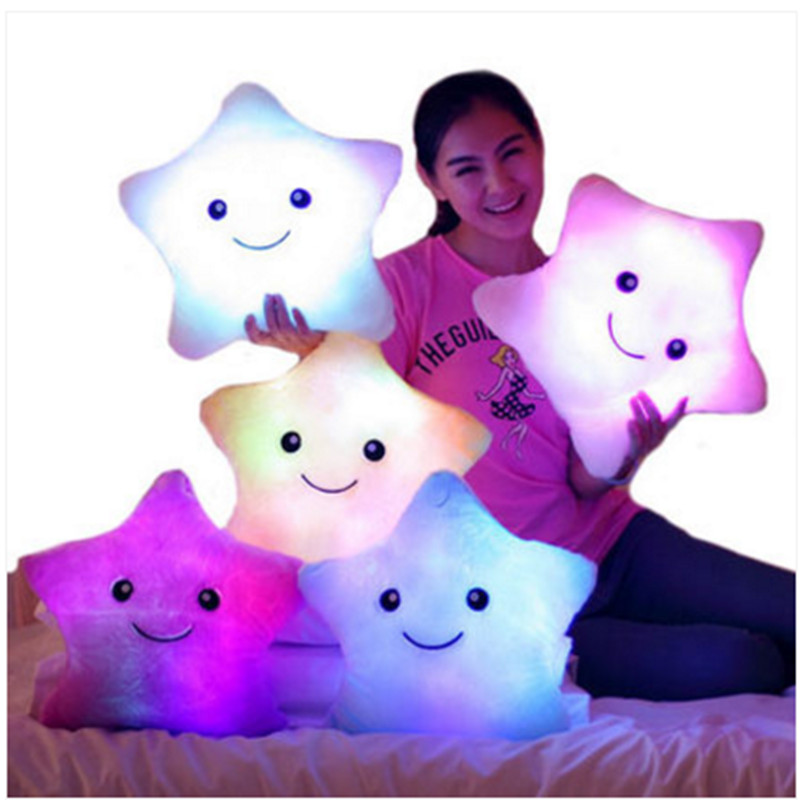 Luminous pillow Christmas Toys, Led Light Pillow,plush Pillow, Hot Colorful Stars,kids Toys, Free Shipping, Birthday Gift high quality colorful change bear luminous pillow soft plush pillow led light pillow kids toys
