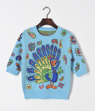 2017 Spring half sleeve blue peacock sweaters fashion woman's pull-over knitwear flower printing knit shirt S-L size