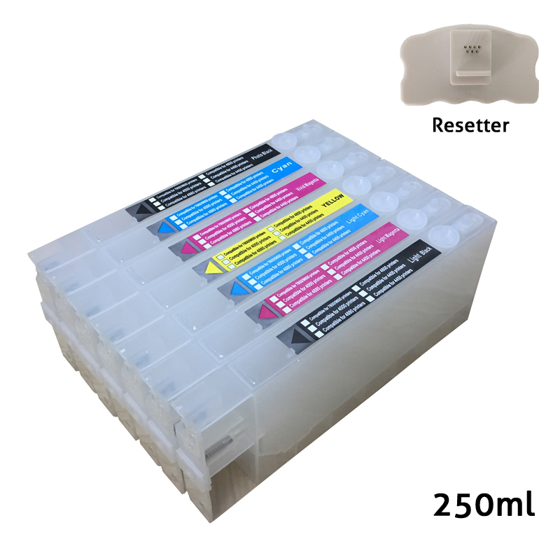 T5441-T5447 Refillable ink cartridges for <font><b>Epson</b></font> <font><b>7600</b></font> <font><b>9600</b></font> printer with chips and one chip resetter image