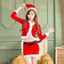 Divertido de la novedad! mujeres red dress sexy disfraces de navidad rojo blanco santa claus de navidad para adultos ropa de fiesta cosplay dress
