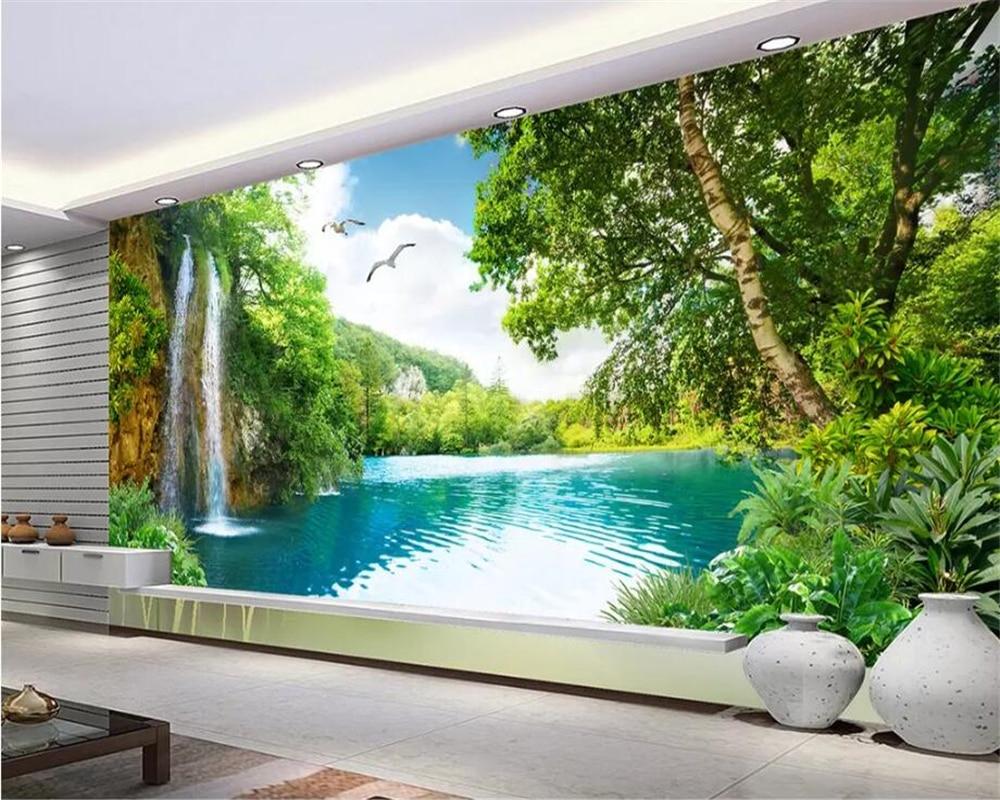 Beibehang personalizar qualquer tamanho murais de parede 3d papel de parede sala estar, moda moderna natureza cachoeira paisagem árvore 3d