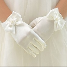 Charming 1 Pair Lovely Flower Girls' Party Bowknot Gloves Mittens Ceremony Communion Accessories Kids Children's Gloves
