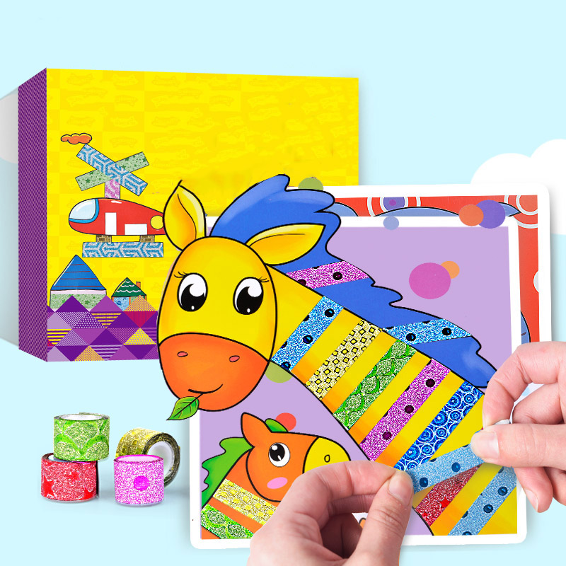 10 Pcs/box Children Color Tapes Handmade Toys Kids Creative Tapes Sticker Toy With Cartoon Animals Drawing Craft Kit Gift