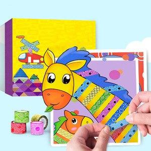 10 قطعة/صندوق الأطفال اللون أشرطة اليدوية لعب الاطفال الإبداعية أشرطة ملصق لعبة مع الكرتون الحيوانات الرسم كرافت كيت هدية