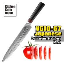 TUO Cutlery Ring Series 9″ Slicing Knife VG-10 Japanese Damascus Stainless Steel Kitchen Slicing Shredding Cutting G10 Handle