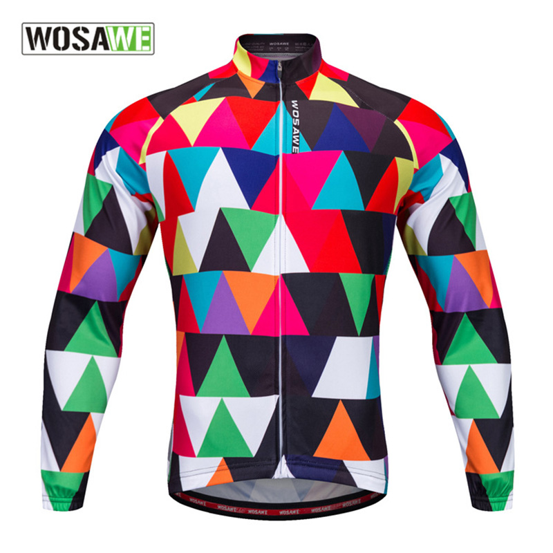 WOSAWE New Autumn Cycling Jersey Men Breathable Sport Jerseys Long Sleeves Bicycle Jackets Running Clothes S 2XL