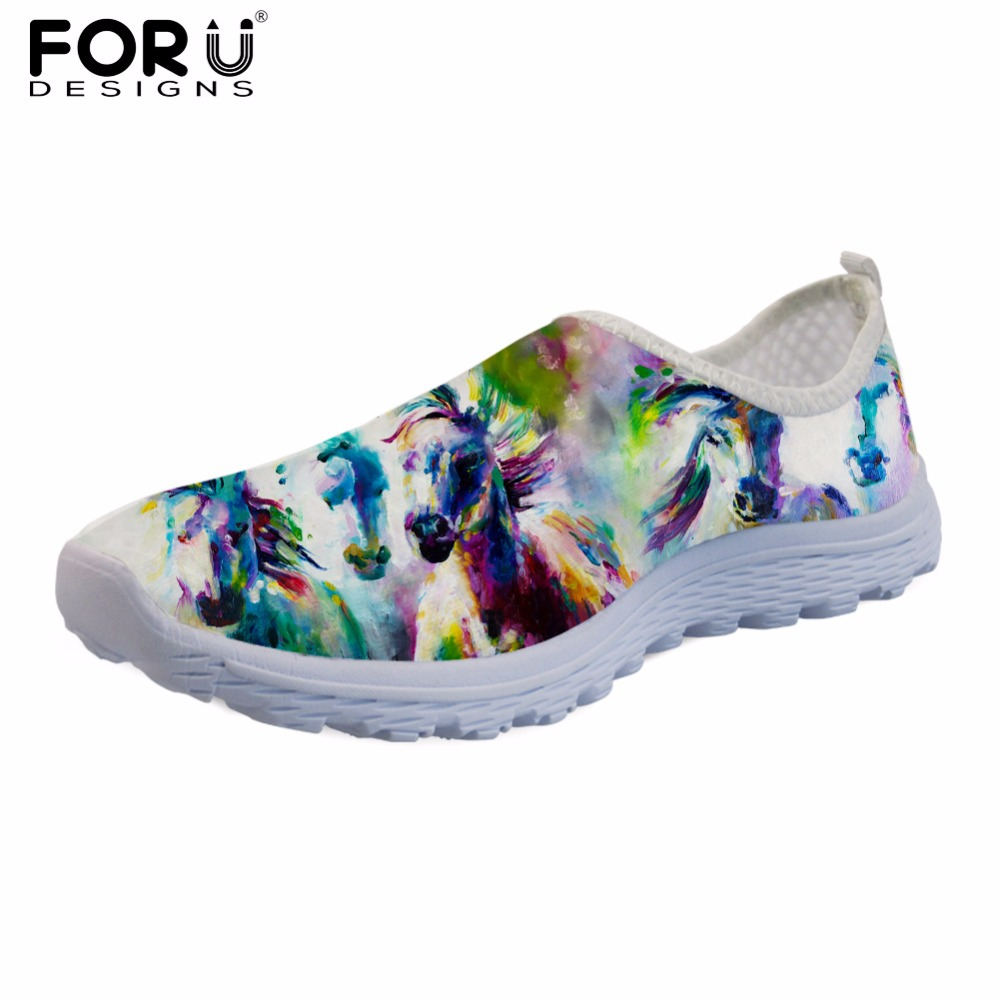 FORUDESIGNS Sneakers Women Casual Mesh Summer Flats Shoes Crazy Horse Female Beach Loafers Fashion Light Weight Shoes for Girls free shipping fashion loss weight women shoes spring summer autumn swing female breathable mesh shoes women casual shoes 2717w