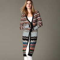 Micosoni Italy knitting cardigan 2019 Fashion original Brand New Women's knitting female jacquard Long knitted sweater One Size