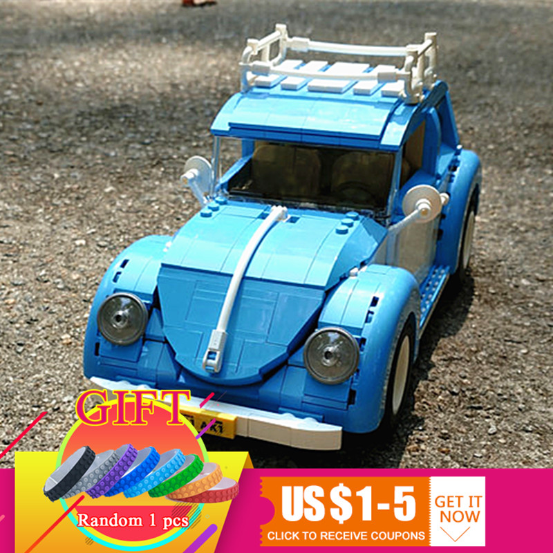21003 1193Pcs Technical Series the Beetle set Model Building Blocks Car Compatible with 10252 toys for children gift lepin 2018 lepin 21003 technic series city car beetle model educational building blocks compatible legoing 10252 toy as children gift