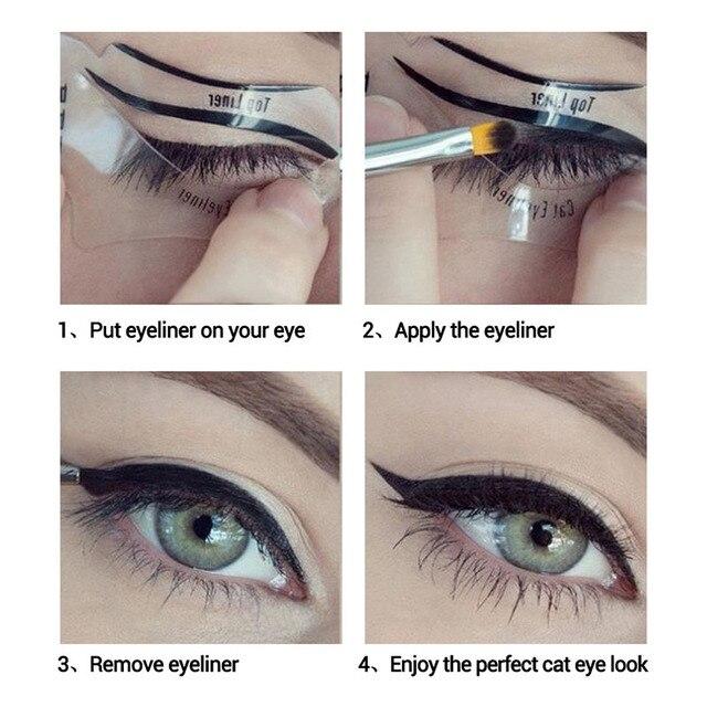 10 piezas Kit de plantilla de delineador de ojos modelo para cejas Plantilla de guía moldeadora Maquiagem sombra de ojos marcos tarjeta maquillaje ojo cejas herramientas