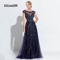 Роскошные Темно синие линия мать невесты платья 2019 с круглым вырезом и короткими рукавами сложный отделочный хрусталь Длинные Вечеринка пл