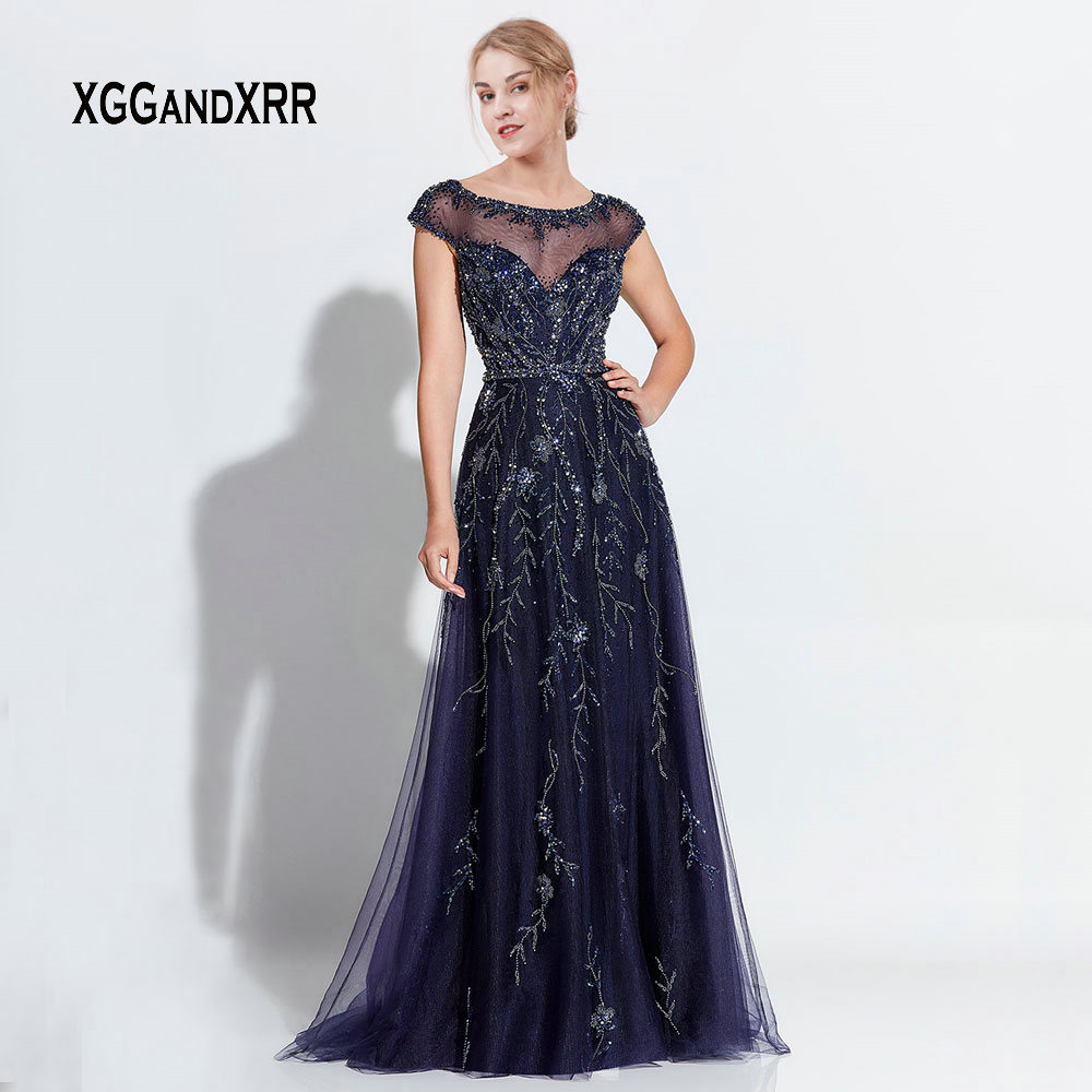 Luxury Navy Blue A Line Mother Of Bride Dresses 2019 Scoop Cap Sleeves Heavy Beading Crystal Long Evening Party Gown Plus Size