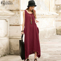 2016 Summer ZANZEA Women Casual Loose Sleeveless Long Dress Vintage Pockets Cotton Irregular Maxi Dresses Plus