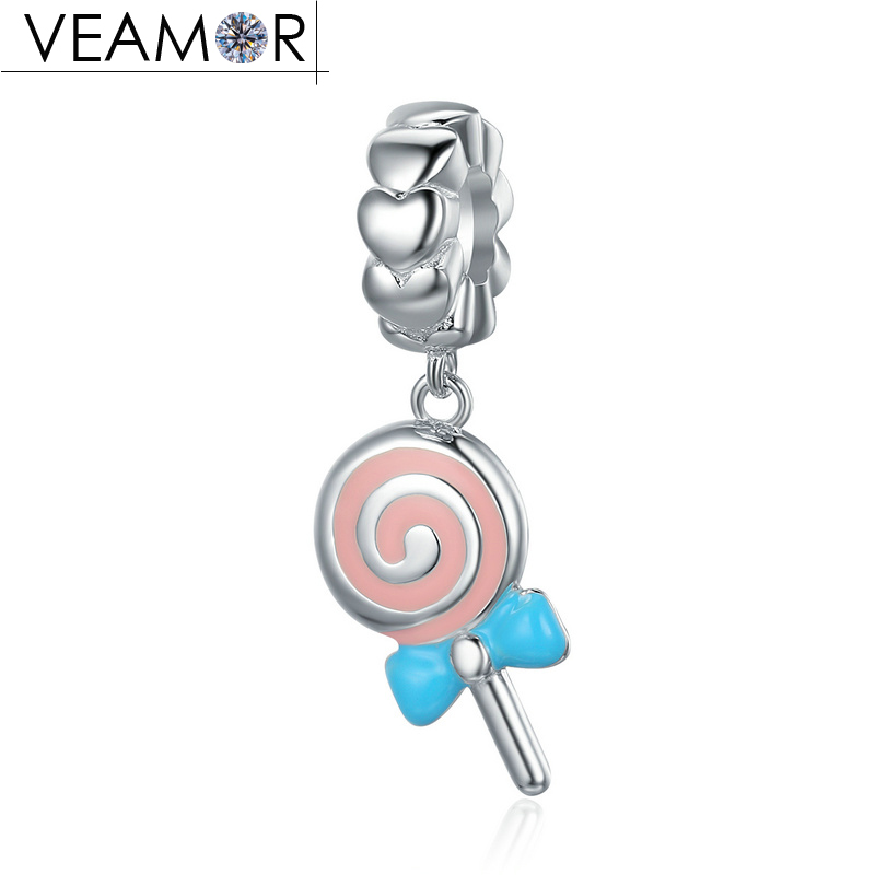 VEAMOR 925 Sterling Silver Mixed Enamel Rainbow Lollipop Candy Pendant Charms Fit Pandora Bracelets Necklaces DIY Jewelry Making