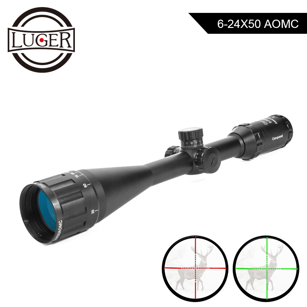 LUGER 6-24X50 Riflescope Red And Green Retical Fiber Optical Sight Hunting Scope For Rifle Airsoft Air Gun With Rail MountLUGER 6-24X50 Riflescope Red And Green Retical Fiber Optical Sight Hunting Scope For Rifle Airsoft Air Gun With Rail Mount
