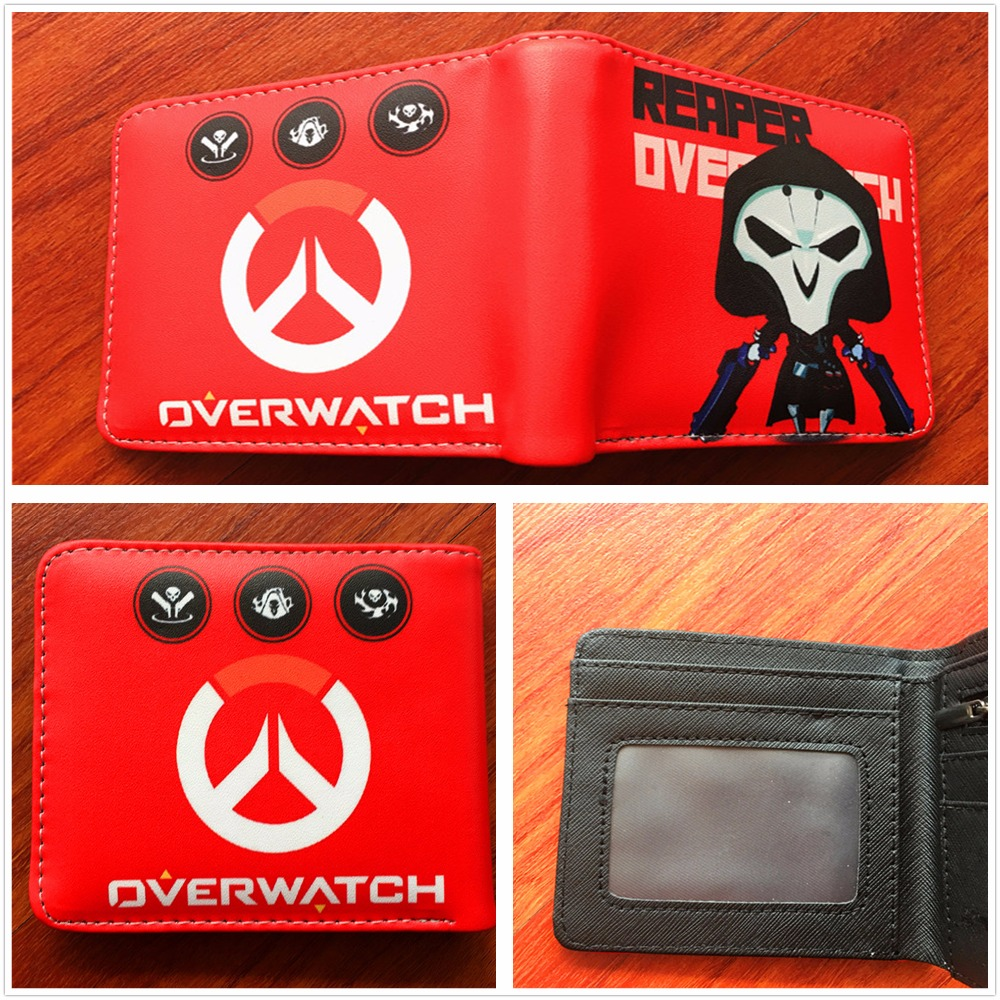 2018 New Arrive Anime Game Wallet Overwatch  Fashion Short Wallets With Card Holder Bag coin short Purse W530 japanese anime poke death note attack on titan one piece game ow short wallet with coin pocket zipper poucht billetera
