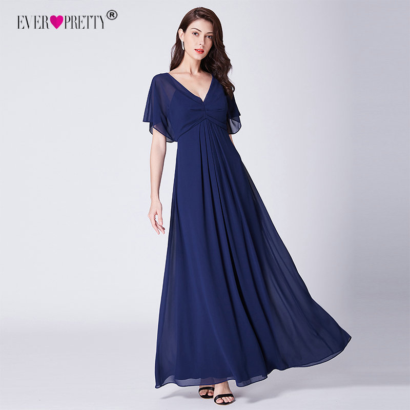 bc9c2b1685e4 Comprar Vestidos De Noche Chifón Azul Marino Largo Siempre Bonito ...