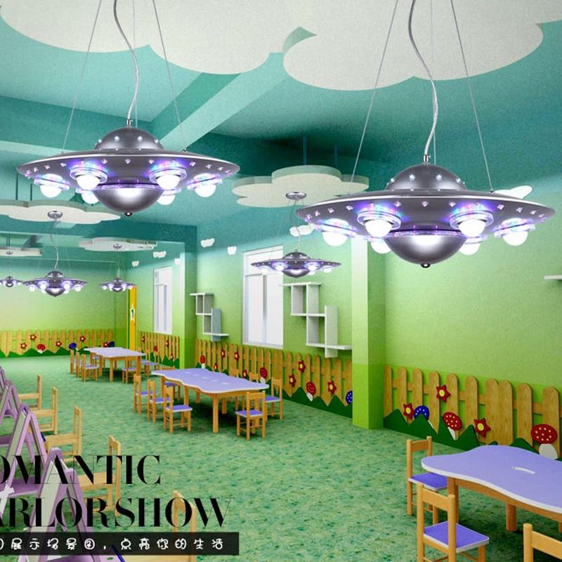 Ufo crianças quarto pingente lightslampadario bambini abajur infantil quarto lustre para crianças babyroom deco enfant chambre - 4