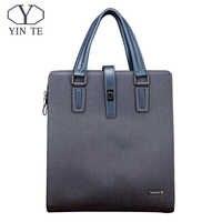 YINTE мужская сумочка; кожаная сумка, Модный молодежный деловой портфель синего цвета, мужская деловая/конференц обувь/сумка мессенджер, мужс...