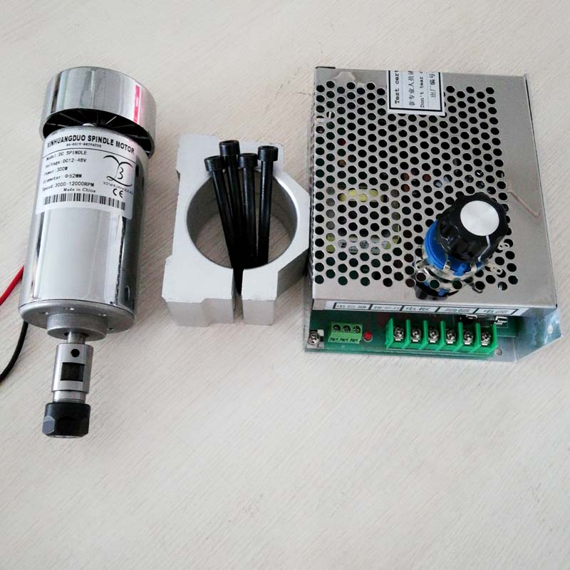 300w dc spindle motor + 52 mm clamp (send four screws) + Speed control power supplyPower Supply Speed Governor For DIY Engraving300w dc spindle motor + 52 mm clamp (send four screws) + Speed control power supplyPower Supply Speed Governor For DIY Engraving